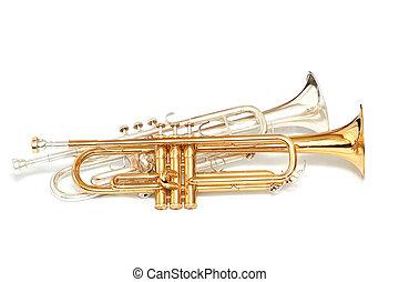 trompetas, plata, oro