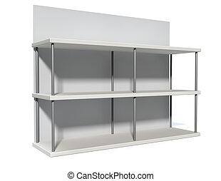 Empty Freestanding Shelf - A rendered metal freestanding...