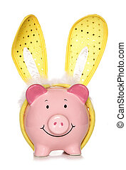 Piggy bank wearing easter bunny ears cutout