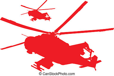 Helicopters - Military helicopters flying Vector silhouettes...
