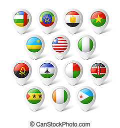 Map pointers with flags Africa