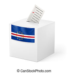Ballot box with voting paper. Cape Verde - Election in Cape...