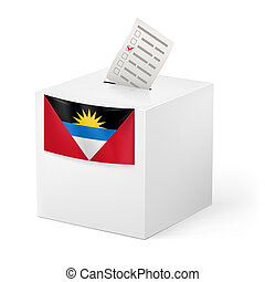 Ballot box with voting paper. Antigua and Barbuda - Election...