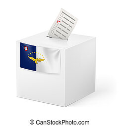 Ballot box with voting paper. Azores - Election in Azores:...