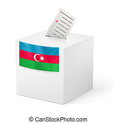 Ballot box with voting paper. Azerbaijan - Election in...