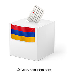 Ballot box with voting paper. Armenia - Election in Armenia:...