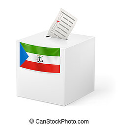 Ballot box with voting paper. Equatorial Guinea - Election...
