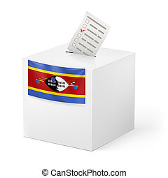 Ballot box with voting paper. Swaziland - Election in...