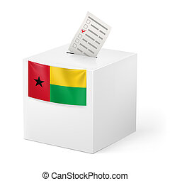 Ballot box with voting paper. Guinea-Bissau - Election in...