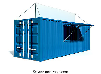 Shipping Container Spaza Shop - A render of a blue shipping...