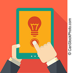 Flat Tablet User with Shadow Vector Illustration EPS 10