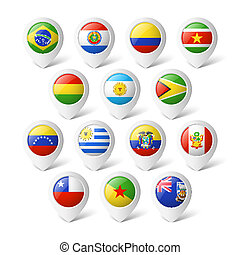 Map pointers with flags America - Map pointers with flags...