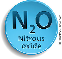 Nitrous oxide - Blue button with nitrous oxide. eps10