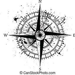 Wind rose ink blots - Black wind rose isolated on black...