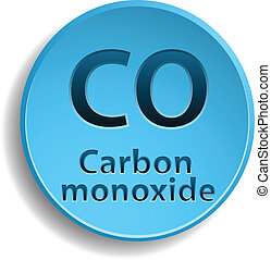 Carbon monoxide - Blue circle button with carbon monoxide...