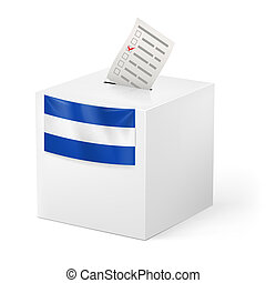 Ballot box with voting paper. El Salvador - Election in El...