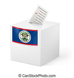 Ballot box with voting paper. Belize - Election in Belize:...