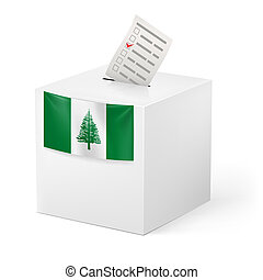 Ballot box with voting paper. Norfolk Island - Election in...