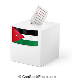 Ballot box with voting paper. Jordan - Election in Jordan:...