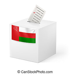 Ballot box with voting paper. Oman - Election in Oman:...