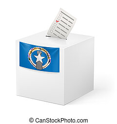 Ballot box with voting paper. Northern Mariana Islands -...