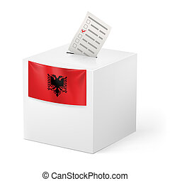Ballot box with voting paper. Albania - Election in Albania:...