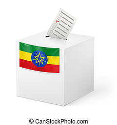 Ballot box with voting paper. Ethiopia - Election in...