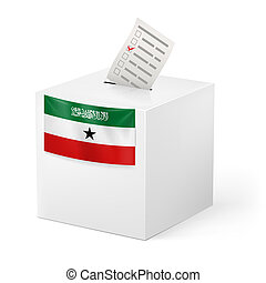 Ballot box with voting paper. Somaliland - Election in...