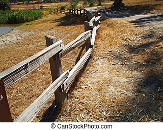 Rustic Fence - Close up of a rustic fence in a forest.