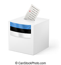 Ballot box with voting paper Estonia - Election in Estonia:...