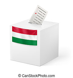 Ballot box with voting paper. Hungary - Election in Hungary:...