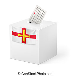 Ballot box with voting paper. Guernsey - Election in...