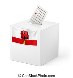 Ballot box with voting paper. Gibraltar - Election in...