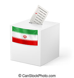 Ballot box with voting paper. Iran - Election in Iran:...