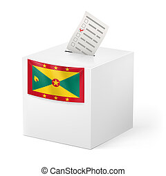 Ballot box with voting paper. Grenada - Election in Grenada:...