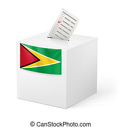 Ballot box with voting paper Guyana - Election in Guyana:...