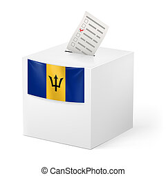 Ballot box with voting paper. Barbados - Election in...