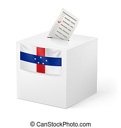 Ballot box with voting paper. Netherlands Antilles -...