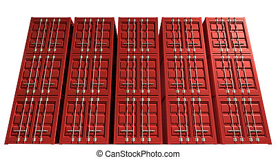 Shipping Container Red Stack - A render of a stack of...