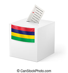 Ballot box with voting paper Mauritius - Election in...