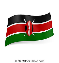 State flag of Kenya - National flag of Kenya: black, red and...
