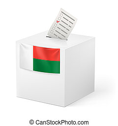 Ballot box with voting paper Madagascar - Election in...