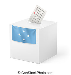 Ballot box with voting paper. Federated States of Micronesia...