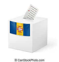 Ballot box with voting paper. Madeira - Election in Madeira:...