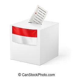 Ballot box with voting paper. Monaco - Election in Monaco:...