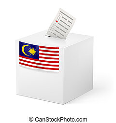 Ballot box with voting paper. Malaysia - Election in...