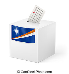 Ballot box with voting paper. Marshall Islands - Election on...