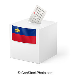 Ballot box with voting paper Liechtenstein - Election in...