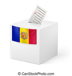 Ballot box with voting paper. Andorra - Election in Andorra:...