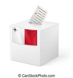 Ballot box with voting paper. Malta - Election in Malta:...